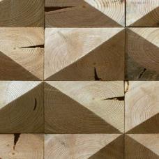 Деревянная плитка из старого бревна,без покрытия, 2 грани