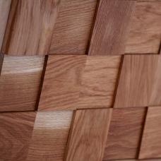 Деревянная 3Д мозаика Шашки Дуб