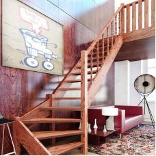Деревянная универсальная лестница ЛЕС-07 (поворот 90°)
