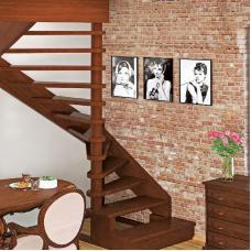 Деревянная универсальная лестница ЛЕС-01 (поворот 180°)