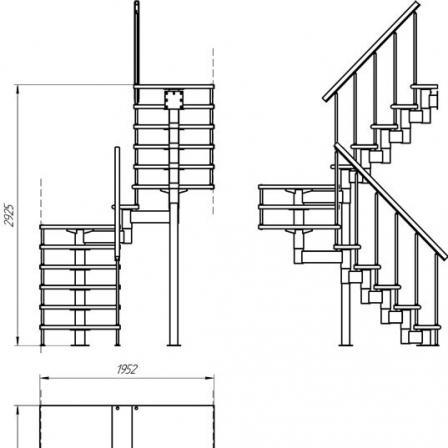 Модульная лестница (с поворотом на 180° и площадками)