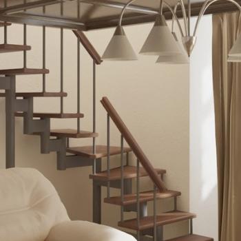 Модульная лестница Фаворит (с поворотом на 90° забежная) шаг 180